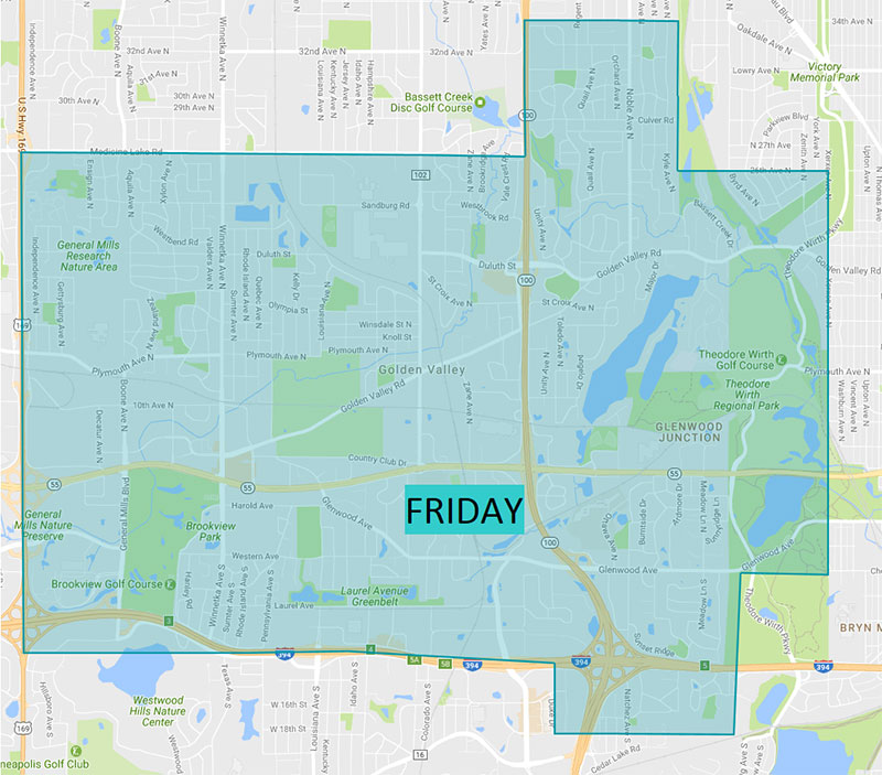 Map of Golden Valley Trash Pick Up Day Suburban Waste MN